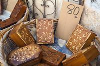 Essaouira, Morocco.  Boxes made from Thuya Wood.