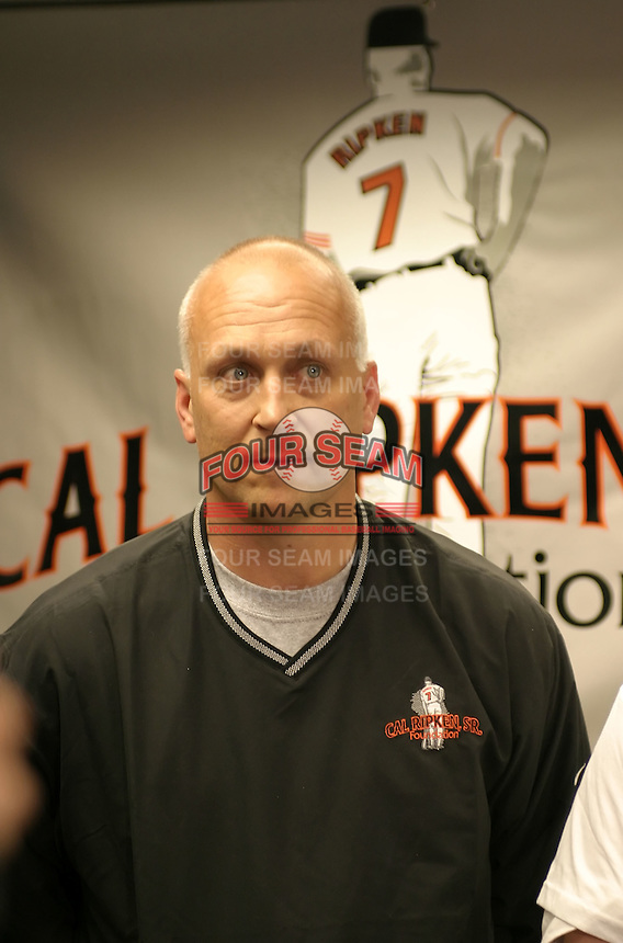 April 13, 2004:  Hall of Fame shortstop Cal Ripken during an appearance with the Rochester Red Wings, Triple-A International League affiliate of the Minnesota Twins, before a game at Frontier Field in Rochester, NY.  Photo by:  Mike Janes/Four Seam Images