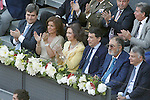Miguel Cardenal Carro, Chairman of the Higher Sports Council; Ana Botella, Mayor of Madrid City, Queen Sofia of Spain; Ignacio Gonzalez, President of Madrid Region, Tennis Legend Ion Tiriac and the Mutua Madrilena's President Ignacio Garralda during Madrid Open Tennis 2015 Final match.May, 10, 2015.(ALTERPHOTOS/Acero)