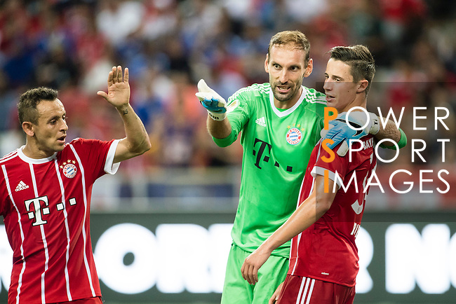 Bayern Munich Defender Rafinha de Souza (L) celebrating his score during the International Champions Cup match between Chelsea FC and FC Bayern Munich at National Stadium on July 25, 2017 in Singapore. Photo by Weixiang Lim / Power Sport Images