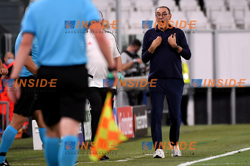 Maurizio Sarri coach of Juventus reacts during the Champions League round of 16 second leg football match between Juventus FC and Lyon at Juventus stadium in Turin (Italy), August 7th, 2020. <br /> Photo Federico Tardito / Insidefoto