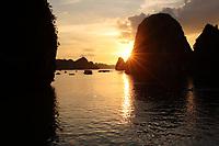 , Vietnam - 2007 File Photo -<br /> <br /> sunset on<br /> Ha Long Bay<br /> <br /> <br /> <br /> photo : James Wong-  Images Distribution