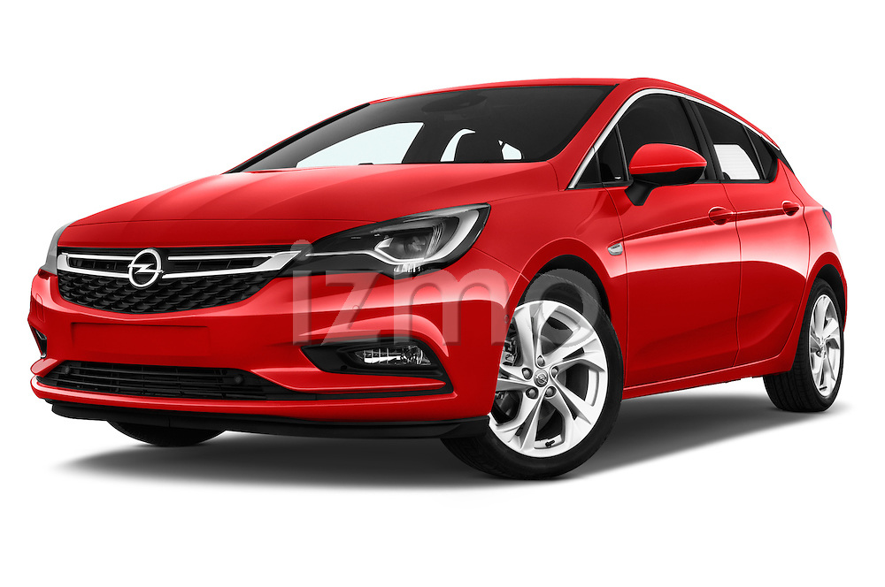 Stock pictures of low aggressive front three quarter view of 2016 Opel Astra Dynamic 4 Door Hatchback Low Aggressive