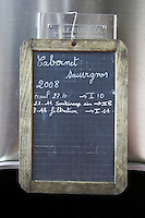 cabernet sauvignon sign on tank chateau lestrille bordeaux france