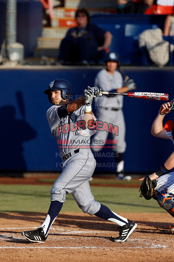 Jeff Stephens #2 of the UC Irvine Anteaters bats against the Cal State Fullerton Titans at Goodwin Field on May 18, 2013 in Fullerton, California. Fullerton defeated UC Irvine, 3-2. (Larry Goren/Four Seam Images)