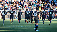 STANFORD, CA - JUNE 29: Players celebrate Vako's #11 goal during a Major League Soccer (MLS) match between the San Jose Earthquakes and the LA Galaxy on June 29, 2019 at Stanford Stadium in Stanford, California.