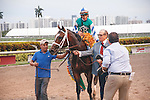 March 28, 2015: Materiality after winning the Florida Derby (G1) at Gulfstream Park, Hallandale Beach (FL). Arron Haggart/ESW/CSM