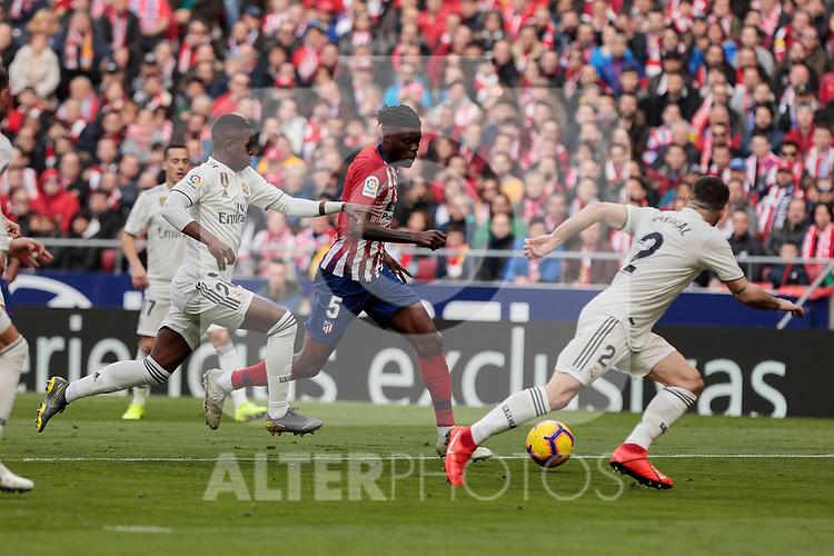 Atletico de Madrid's Thomas Teye and Real Madrid's Vinicius Jr. during La Liga match between Atletico de Madrid and Real Madrid at Wanda Metropolitano Stadium in Madrid, Spain. February 09, 2019. (ALTERPHOTOS/A. Perez Meca)