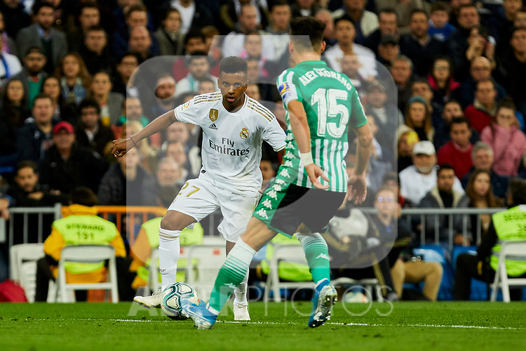 Rodrygo Goes of Real Madrid and Alex Moreno of Real Betis Balompie during La Liga match between Real Madrid and Real Betis Balompie at Santiago Bernabeu Stadium in Madrid, Spain. November 02, 2019. (ALTERPHOTOS/A. Perez Meca)