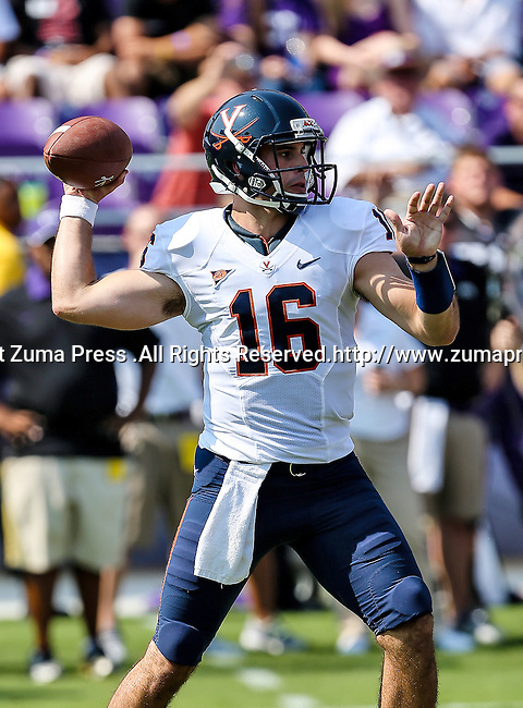 Virginia Cavaliers quarterback Michael Rocco (16) in action during the game between the Virginia Cavaliers and the TCU Horned Frogs  at the Amon G. Carter Stadium in Fort Worth, Texas. TCU defeats Virginia 27 to 7...
