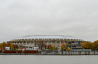 14th October 2017; The Olympic Stadium Lushniki, the largest soccer stadium in Russia can be seen at night in  Moscow. It will host the opening match and the finale of the football World Cup 2018.