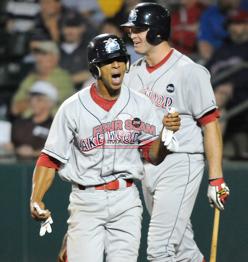 Sept. 18, 2009: Anthony Gose (24) of the Lakewood BlueClaws yells after scoring his second run of Game 4 of the South Atlantic League Championship Series at Fluor Field at the West End in Greenville, S.C. Lakewood won the game 5-1 and the series 3 games to 1. Photo by: Tom Priddy/Four Seam Images