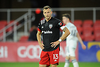 WASHINGTON, DC - MAY 13: Frederic Brilliant #13 of D.C. United waits for a corner kick during a game between Chicago Fire FC and D.C. United at Audi FIeld on May 13, 2021 in Washington, DC.