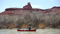 Patty (SP?) floats a new Two Brothers Arkota canoe past Mexican Hat on the San Juan River in southeast Utah. Sixteen people, including 12 canoes and a raft carrying four, paddle 83.5 miles of the San Juan River from the Sand Island Boat Ramp near Bluff, Ut., to Clay Hills Crossing UT.. Check out nwaonline.com/21____Daily/ and nwadg.com/photos for a photo gallery.<br /> (NWA Democrat-Gazette/David Gottschalk)