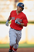 Boston Red Sox right fielder Mookie Betts (50) running the bases after hitting a home run during a Spring Training game against the Minnesota Twins on March 16, 2016 at Hammond Stadium in Fort Myers, Florida.  Minnesota defeated Boston 9-4.  (Mike Janes/Four Seam Images)