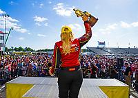 May 6, 2018; Commerce, GA, USA; NHRA funny car driver Courtney Force celebrates after winning the Southern Nationals at Atlanta Dragway. Mandatory Credit: Mark J. Rebilas-USA TODAY Sports