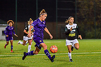 Anderlecht defender Laura Deloose (L) with the ball pictured during a female soccer game between RSC Anderlecht Dames and Eendracht Aalst Ladies  on the fourth matchday of the 2020 - 2021 season of Belgian Womens Super League , Tuesday 13 th of October 2020  in ANDERLECHT , Belgium . PHOTO SPORTPIX.BE | SPP | STIJN AUDOOREN