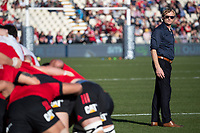 Crusaders head coach Scott Robertson during the 2020 Super Rugby match between the Crusaders and Highlanders at Orangetheory Stadium in Christchurch, New Zealand on Saturday, 9 August 2020. Photo: Joe Johnson / lintottphoto.co.nz
