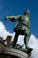 Statue of Jean de Beaumanoir in Dinan, Brittany, France.