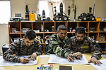 Mine-clearing class inside the commando's school of the ANA, Kabul, Afghanistan, 6th November 2017.<br /> <br /> Cours de déminage à l'intérieur de l'école du commando de l'ANA, Kaboul, Afghanistan, 6 novembre 2017.