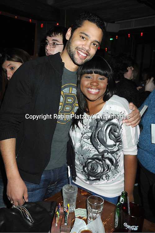 Barret Helms and Shenell Edmonds attend The One Life To Live Benefit for The Amber Roach Memorial Garden on January 7, 2012 at Brother .Jimmy's BBQ Union Square Restaurant in New York City.