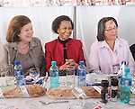 Jane Raphaely, Chairman, Associated Magazines,  Dr. Mamphela Ramphele  and Patricia de Lille, Mayor of the City of Cape Town, at the Table of Peace and Unity - a fundraising luncheon for 700 guests sitting at one table on Table Mountain. R1.5 million was raised to benefit vulnerable children.