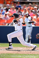 Frederick Keys outfielder Glynn Davis (10) during a game against the Carolina Mudcats on April 26, 2014 at Harry Grove Stadium in Frederick, Maryland.  Carolina defeated Frederick 4-2.  (Mike Janes/Four Seam Images)