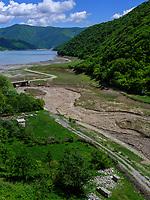 Shinvali-Stausee bei Ananuri an der georgischen Heerstraße, Mzcheta-Mtianeti, Georgien, Europa<br /> Shimali reservoir of Aragvi river at Geogian Military Road , Mzcheta-Mtianeti, Georgia, Europe