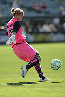 Allison Whitworth kicks out the ball. FC Gold Pride defeated Washington Freedom 3-2 at Buck Shaw Stadium in Santa Clara, California on August 1, 2009.
