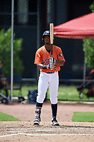 GCL Astros right fielder Juan Ramirez (2) at bat during a game against the GCL Marlins on August 5, 2018 at FITTEAM Ballpark of the Palm Beaches in West Palm Beach, Florida.  GCL Astros defeated GCL Marlins 2-1.  (Mike Janes/Four Seam Images)