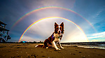 Piper sits under the double rainbow at Shell Point Beach in Wakulla County along the Forgotten Coast of the north Florida panhandle.