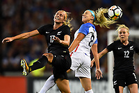 Cincinnati, OH - Tuesday September 19, 2017: Hannah Wilkinson, Julie Ertz during an International friendly match between the women's National teams of the United States (USA) and New Zealand (NZL) at Nippert Stadium.