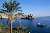 Ferry carrying passengers across the Nile River to the island of Philae, Egypt.