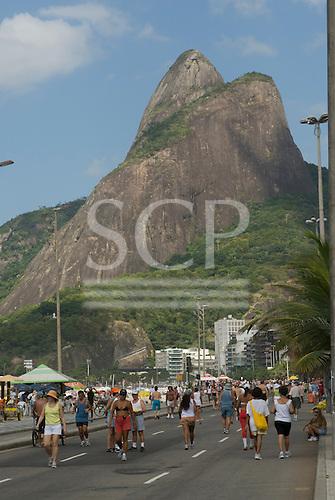 Rio de Janeiro, Brazil. Leblon beach road, on a Sunday.