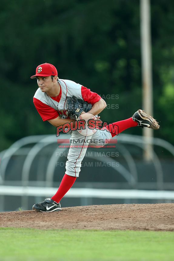 July 11th 2008:  Starting pitcher Jeff Kaplan (45) of the Brooklyn Cyclones, Class-A affiliate of the NY Mets, during a game at Russell Diethrick Park in Jamestown, NY.  Photo by:  Mike Janes/Four Seam Images