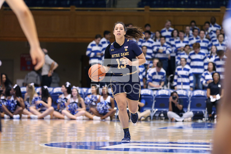 DURHAM, NC - JANUARY 16: Marta Sniezek #13 of Notre Dame University brings the ball up the court during a game between Notre Dame and Duke at Cameron Indoor Stadium on January 16, 2020 in Durham, North Carolina.
