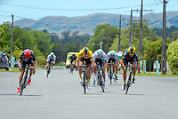 Brad Evans (left), Chris Lawless (yellow jersey), Dion Smith and Alex Frame (right) sprint down the final straight for the finish. UCI Oceania Tour - NZ Cycling Classic stage two - Masterton to Martinborough circuit in Wairarapa, New Zealand on Thursday, 21 January 2016. Photo: Dave Lintott / lintottphoto.co.nz