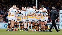 Photo: Richard Lane/Richard Lane Photography. Exeter Chiefs v Wasps. Gallagher Premiership. 14/04/2019.  Wasps huddle.