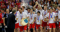 Denmark national handball team players receives trophy after men`s EHF EURO 2012 handball championship game against Serbia in Belgrade, Serbia, Sunday, January 29, 2011.  (photo: Pedja Milosavljevic / thepedja@gmail.com / +381641260959)