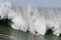 Ryan Seelbach in front of the wave at the 2010 Mavericks Surf Contest in Half Moon Bay, California on February 13th, 2010.