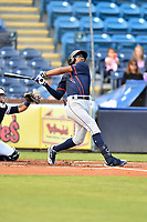 Bowling Green Hot Rods Greg Jones (2) swings at a pitch during a game against the Asheville Tourists on May 25, 2021 at McCormick Field in Asheville, NC. (Tony Farlow/Four Seam Images)