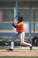 Baltimore Orioles Markel Jones (95) follows through on a swing during a minor league Spring Training game against the Minnesota Twins on March 17, 2017 at the Buck O'Neil Baseball Complex in Sarasota, Florida.  (Mike Janes/Four Seam Images)