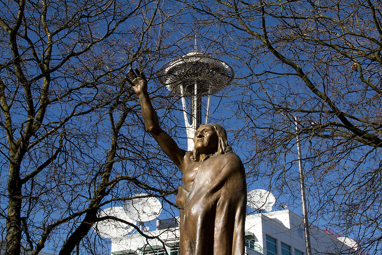 Seattle, Chief Seattle, Chief Sealth, statue of Seattle's namesake, Tilikum Place, Space Needle, public art, bronze sculpture, art, sculpture, outdoor art,