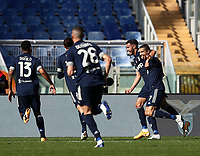 Football, Serie A: S.S. Lazio - Juventus Olympic stadium, Rome, November 8, 2020. <br /> Juventus' Cristiano Ronaldo (r) celebrates after scoring with his teammates during the Italian Serie A football match between Lazio and Juventus at Olympic stadium in Rome, on November 8, 2020.<br /> UPDATE IMAGES PRESS/Isabella Bonotto