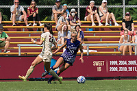 NEWTON, MA - SEPTEMBER 12: Samantha Adams #29 of Holy Cross dribbles down the wing during a game between Holy Cross and Boston College at Newton Campus Soccer Field on September 12, 2021 in Newton, Massachusetts.