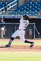 Peoria Javelinas left fielder Trent Grisham (2), of the Milwaukee Brewers organization, follows through on his swing during an Arizona Fall League game against the Scottsdale Scorpions at Peoria Sports Complex on October 18, 2018 in Peoria, Arizona. Scottsdale defeated Peoria 8-0. (Zachary Lucy/Four Seam Images)