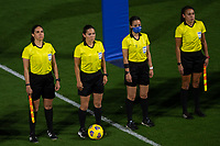ORLANDO CITY, FL - FEBRUARY 18: The referees during a game between Canada and USWNT at Exploria stadium on February 18, 2021 in Orlando City, Florida.
