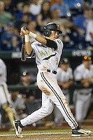 Vanderbilt Commodores outfielder Jeren Kendall (3) follows through on his swing against the TCU Horned Frogs in Game 12 of the NCAA College World Series on June 19, 2015 at TD Ameritrade Park in Omaha, Nebraska. The Commodores defeated TCU 7-1. (Andrew Woolley/Four Seam Images)