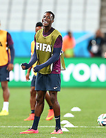 Daniel Welbeck of England smiles during training ahead of their Group D fixture vs Uruguay tomorrow