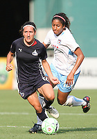 Lisa De Vanna #17 of the Washington Freedom breaks away from Chioma Igwe #12 of the Chicago Red Stars during a WPS match at RFK stadium on June 13 2009 in Washington D.C. The game ended in a 0-0 tie.